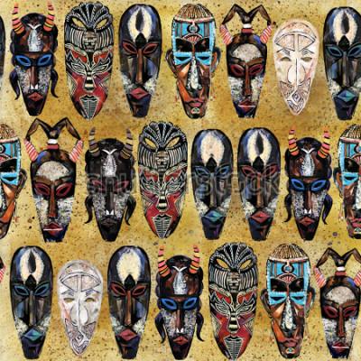 Image modèle sans couture de masque africain. fond totémique tribal ethnique dessiné à la main