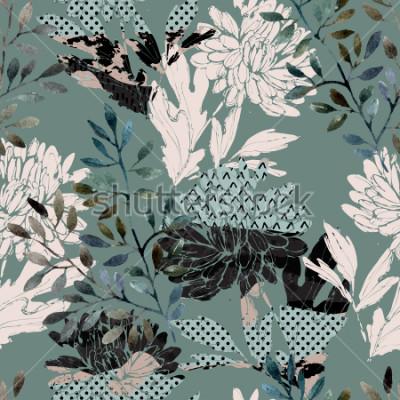 Image Modèle sans couture floral abstrait. Aquarelle de fleurs, feuilles remplies de textures minimales de griffonnage. Fond naturel. Illustration automne peinte à la main pour tissu, textile, design d '