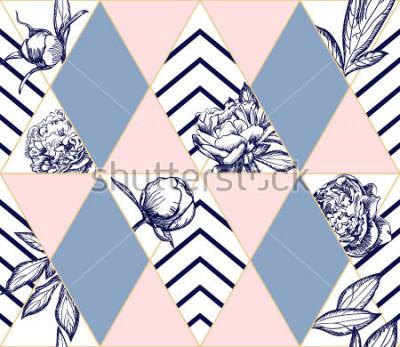 Image Modèle sans couture géométrique tendance élégant avec des fleurs de pivoine. Texture idéale pour la mode. Élément de design vectoriel