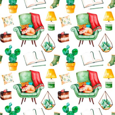 Modèle sans couture maison confortable avec une plante à la maison, une chaise verte avec chaton mignon, livre, gâteau savoureux, coussin, lampe, etc .. Accueil aquarelle ensemble.Parfait pour le papi