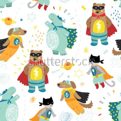 Image modèle sans couture super-héros enfants dessinés à la main avec chien, chat, ours et hippo