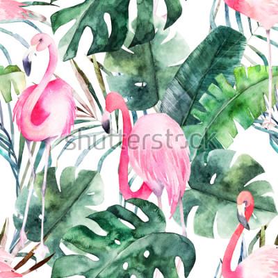 Image Modèle sans couture tropical avec flamant rose et feuilles. Aquarelle impression d'été. Illustration dessinée à la main exotique