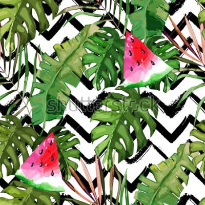 Image Modèle sans couture tropical. Feuilles de palmier et melon d'eau. Illustration dessinée à la main Fond d'été. Style aquarelle