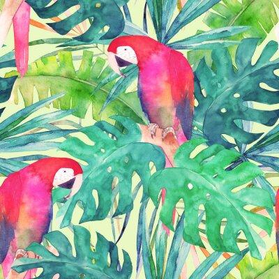 Image Modèle sans fin d'été avec perroquet d'aquarelle, feuilles de palmier. Illustration colorée