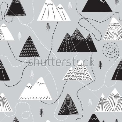 Image Modèle sans soudure dessiné à la main avec des arbres et des montagnes. Fond boisé créatif scandinave. Forêt. Croquis élégant. Illustration vectorielle