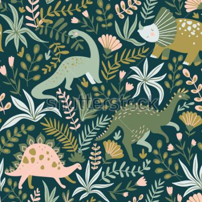 Image Modèle sans soudure dessiné de main avec les dinosaures et les fleurs et les feuilles tropicales. Parfait pour le tissu, textile et papier peint pour enfants. Conception mignonne de dino. illustration