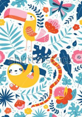 Image Modèle tropical sans soudure avec vecteur personnages mignons, toucan, paresse, serpent, papillon