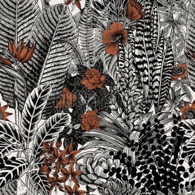 Image Modèle vintage sans soudure de vecteur. Fleurs et plantes exotiques. Illustration de classique botanique.