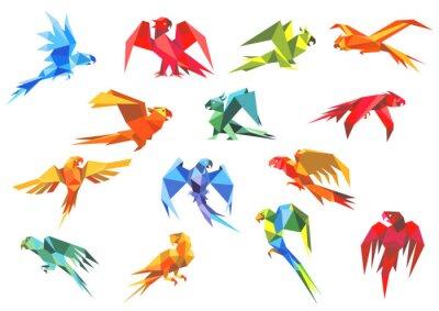 Image Modèles de papier origami de perroquets