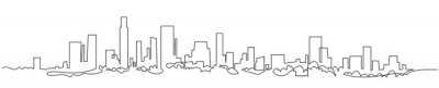 Image Modern cityscape continuous one line vector drawing. Metropolis architecture panoramic landscape. New York skyscrapers hand drawn silhouette. Apartment buildings isolated minimalistic illustration