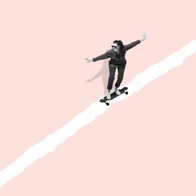 Image Modern design, contemporary art collage. Inspiration, idea, trendy urban magazine style. Woman riding on skateboard on pastel background