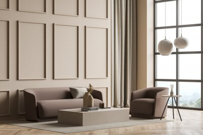 Image Modern panoramic beige living room with wall moulding