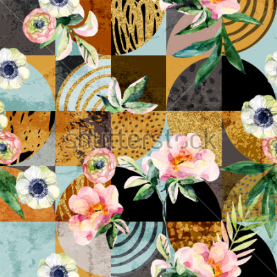 Image Modern seamless geometric and floral pattern: watercolor flowers and leaves on semicircles, circles, squares, grunge, golden glitter textures, doodles abstract background. Art illustration
