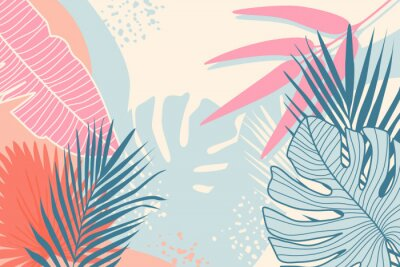 Image Modern tropical background. Jungle plants nature backdrop. Summer palm leaves wallpaper.