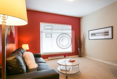 Image: Moderne lumineux, salon rouge dans une maison de luxe. conception