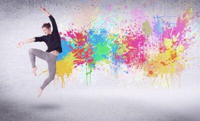 Image Moderne, rue, danseur, Sauter, coloré, peinture, éclaboussures