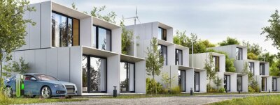 Image Modular houses of modern architecture and an electric car