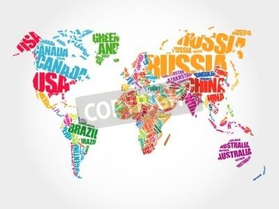 Image Monde, carte, typographie, mot, nuage, concept, noms, pays