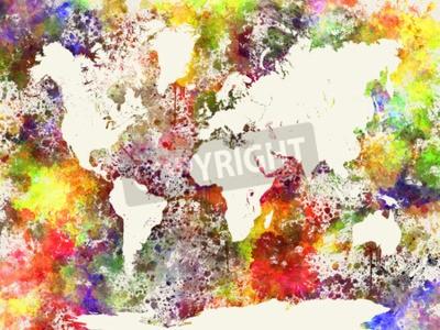 Image Mondiale, carte, aquarelle, peinture, résumé, éclaboussures