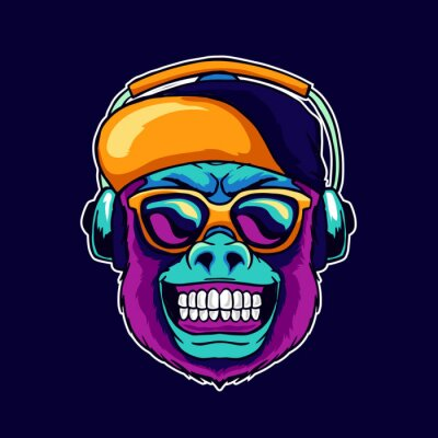 Image Monkey smile wear cool glasses and cap hat listening dope music on the headphone speaker vector illustration. Pop art color style animal gorilla head logo design for creative DJ sound producer studio.