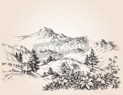 Image Montagnes, paysage, croquis