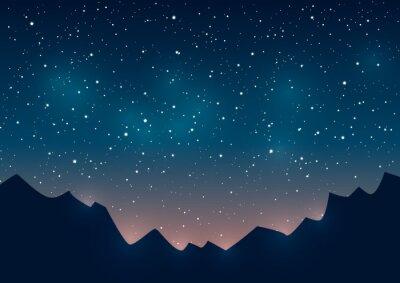 Image Montagnes, silhouettes, étoilé, fond