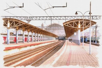 Image Moscow city. Railway station platform. Imitation of a picture. Oil paint. Illustration