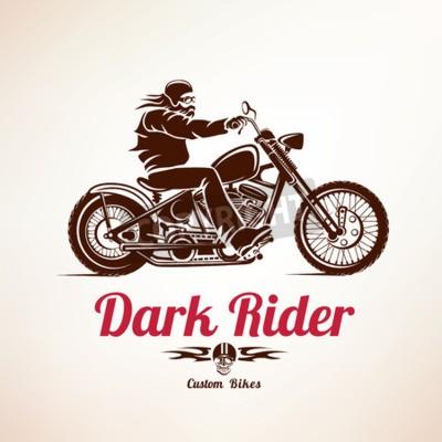 Image Motard, moto, grunge, vecteur, silhouette, retro, emblème, étiquette