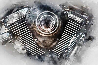 Image Moteur de moto close-up. Aquarelle numérique.