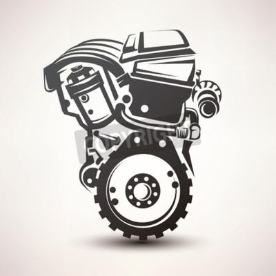 Image Moteur, voiture, Symbole, stylisé, vecteur, silhouette, icône