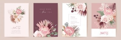 Image Mothers day floral vector card. Greeting protea flowers, palm leaves template design. Watercolor minimal postcard