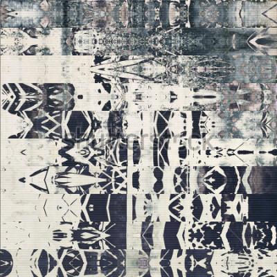 Image motif abstrait géométrique à rayures horizontales, fond monochrome en papier dans les couleurs gris blanc, noir et bleu; ornement sans soudure verticale