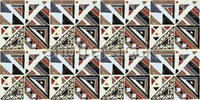 Image Motif africain géométrique sans soudure. Ornement ethnique sur le tapis. Style aztèque. Texture vecteur tribal ethnique. Broderie sur le tissu. Motif indien, mexicain, folk. Quilting, patchwork, jacqu