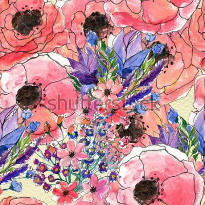 Image Motif aquarelle floral sans soudure