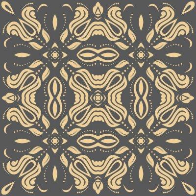 Image Motif d'or oriental avec des arabesques et des éléments floraux. Ornement classique traditionnel