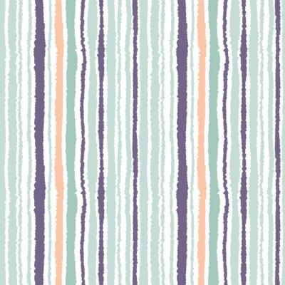 Image Motif de bande sans couture. Lignes verticales avec effet papier déchiré. Briser le fond du bord. Gris clair et gris foncé, olive, turquoise sur blanc. Vecteur