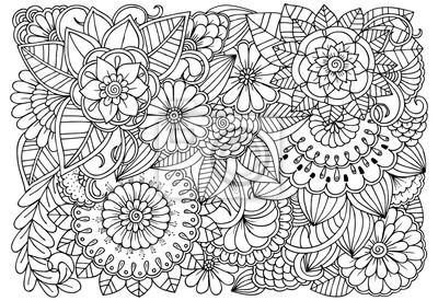 Motif De Fleur Noir Et Blanc Pour Le Coloriage Pour Adulte Peintures Murales Tableaux Enchevetrement Complexe Coloration Myloview Fr