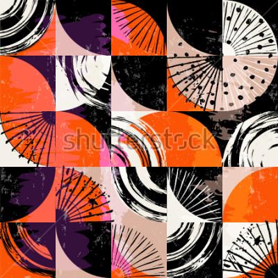 Image Motif de fond abstrait, avec des cercles, des points, des carrés, des traits et des éclaboussures