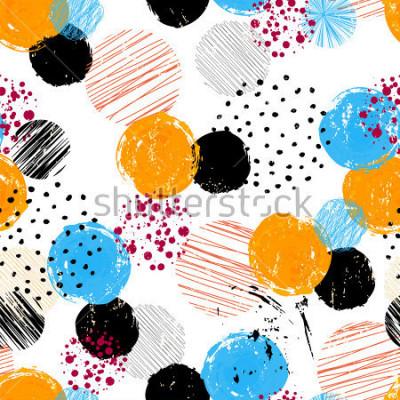 Image motif de fond sans couture, avec cercles / points, traits et éclaboussures