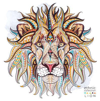Image Motif de la tête du lion sur le fond grunge. Conception africaine / indienne / totem / tatouage. Il peut être utilisé pour la conception d'un t-shirt, un sac, une carte postale, une affiche et ainsi d