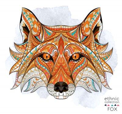Image Motif de la tête du renard roux sur le fond grunge. Conception africaine / indienne / totem / tatouage. Il peut être utilisé pour la conception d'un t-shirt, un sac, une carte postale, une affiche et