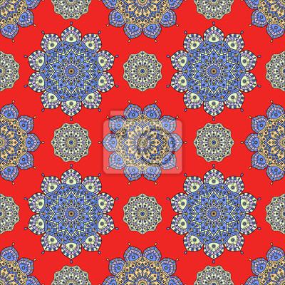 Image Motif De Mandala Sans Couture En Bleu Lavande Orange Et Jaune