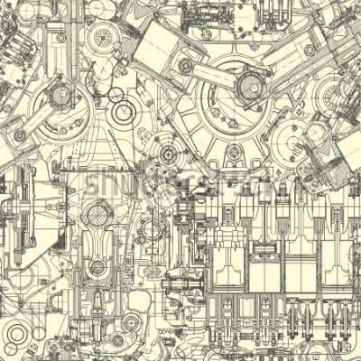 Image Motif de moteur de dessin, fond. Le modèle sans couture peut être utilisé pour le papier peint, les motifs de remplissage, le fond de page Web, les textures de surface.