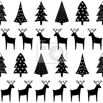 Image Motif De Noël Arbres De Noël Rennes Et Flocons De Neige Noir