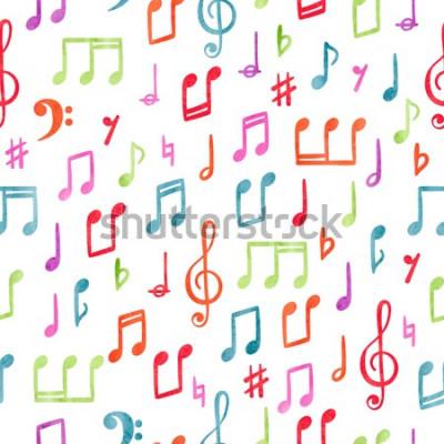 Image Motif de notes de musique colorée sans soudure. Fond aquarelle musical