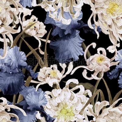 Image Motif floral sans couture avec chrysanthèmes et iris, aquarelle