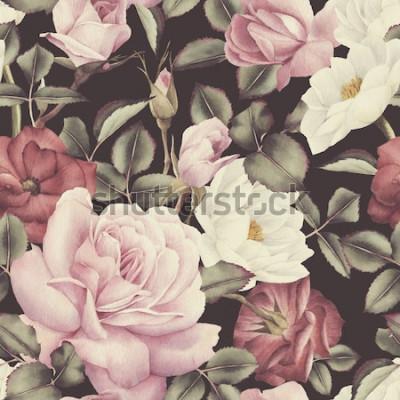 Image Motif floral sans couture avec des roses, aquarelle