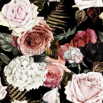 Image Motif floral sans couture avec des roses, des aquarelles.
