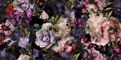 Image Motif floral sans couture avec fleurs, aquarelle