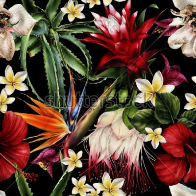 Image Motif floral sans couture avec fleurs tropicales, aquarelles.